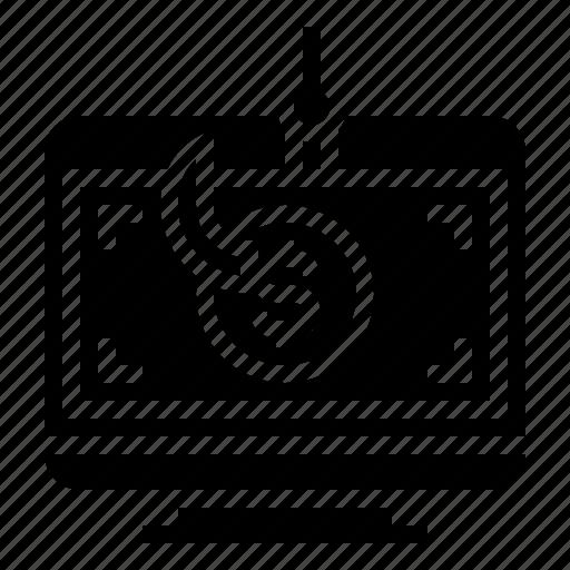 computer, crime, hack, money, phishing icon