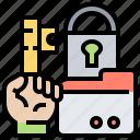 breach, data, folder, key, unlocked icon