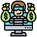 cybercrime, fraud, online, ransomware, robbery icon