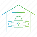 cyber crime, hacking, home, locked, threat, virus icon