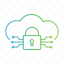 cloud, cyber crime, data, hacker, hacking, lock, threat icon