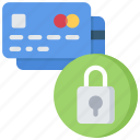 card, credit, cyber, lock, payment, security icon