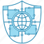 cyber security, encryption, network protection, shield, smart, technology, world icon icon
