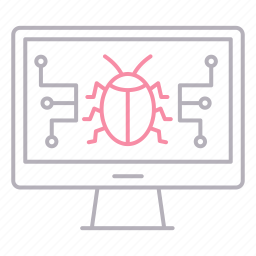 bug, cyber security, monitor, personal, security icon