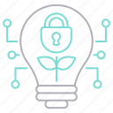 bulb, cyber security, growth, idea, security icon