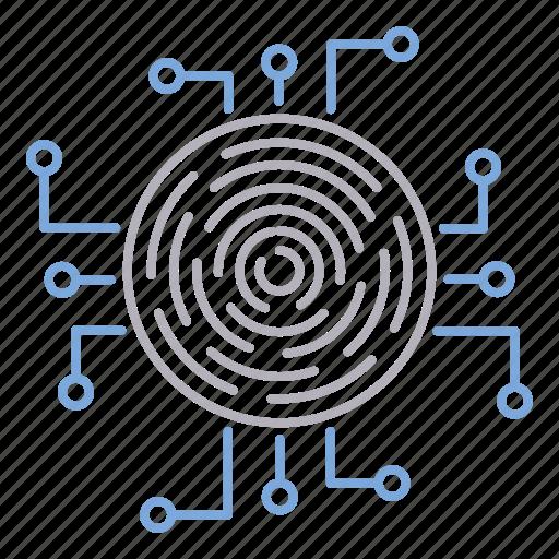 crypto, cyber security, fingerprint icon