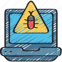 cyber, laptop, malware, online, security, virus icon