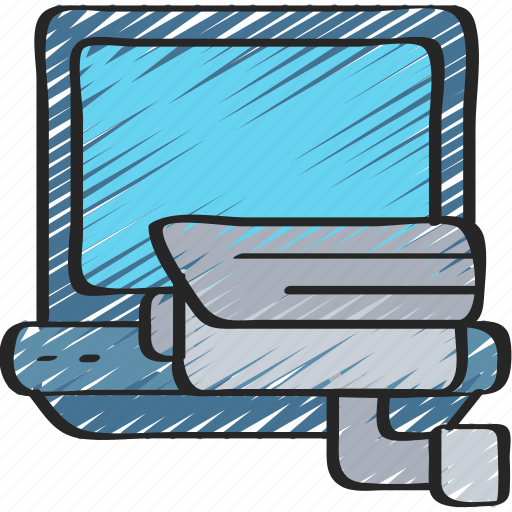 cyber, laptop, online, secure, security icon