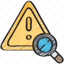 analysis, cyber, online, risk, security, warning icon