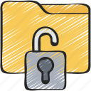 cyber, folder, lock, secure, security icon