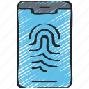 cyber, mobile, online, print, security, thumb icon