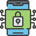 cyber, online, phone, security icon