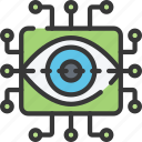 cyber, eye, online, retina, scan, security icon