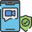 call, cyber, online, secure, security, video icon