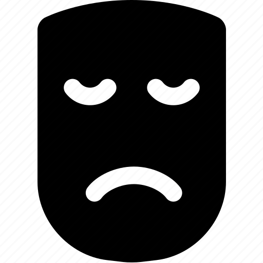 drama, emoticons, frown, mask, sad, sorrow, theater icon