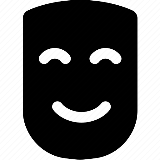 comedy, drama, happy, mask, smile, theater icon