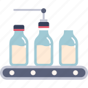 factory, industry, manufacturing, milk bottle, packaging, process, product icon