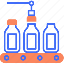 factory, industry, manufacturing, milk bottle, packaging, process, product