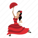 cartoon, dance, dancer, drawing, dress, flamenco, girl icon