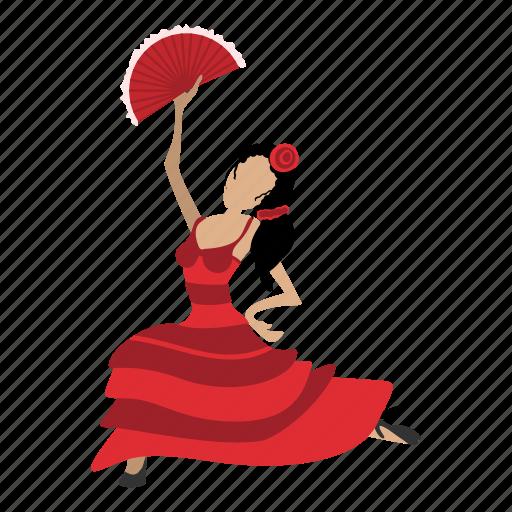cartoon, dance, dancer, drawing, dress, flamenco, girl icon