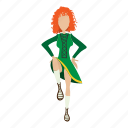 cartoon, cute, dance, dancer, girl, irishstep, redhair icon