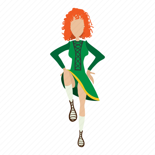 cartoon, cute, dance, dancer, girl, irishstep, redhair icon