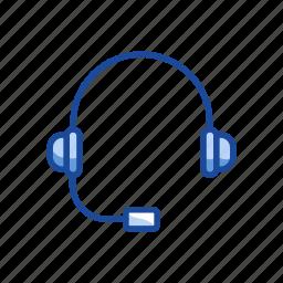 call center, headphone, headset, music icon