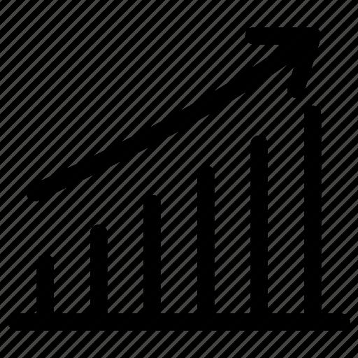 bitcoin, growth, histogram, statistics, stocks icon