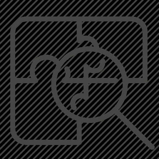 analysis, focus, method, partner, problem icon