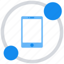 data, data analytics, mobile, network, round icon