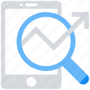 analytics, arrow, data analytics, magnifier glass, mobile