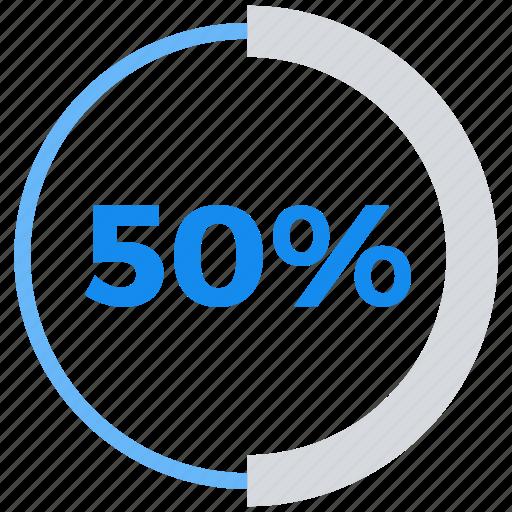 analytics, data analytics, fifty, percent icon