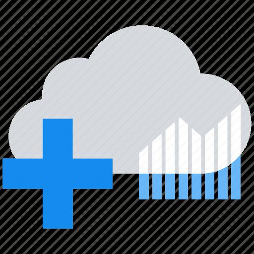 analytics, cloud, data analytics, graph, plus icon
