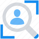 data analytics, find, magnifier glass, person, search, user