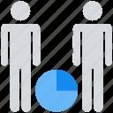 chart, data analytics, graph, pie, two, users