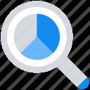 chart, data analytics, find, graph, information, magnifier glass