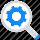 cogwheel, data analytics, find, gear, magnifier glass, setting