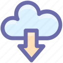 cloud and download sign, cloud computing, cloud network, cloud upload, cloud uploading icon