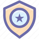 favorite, police badge, secure, security, shield, star icon