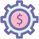 cog, cogwheel, dollar, gear, gearwheel, preferences icon