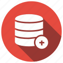add, database, server, storage icon