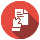 documen, file, hand, paper icon