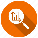 analytics, diagram, find, search icon