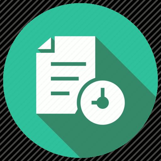 clock, deadline, document, file icon