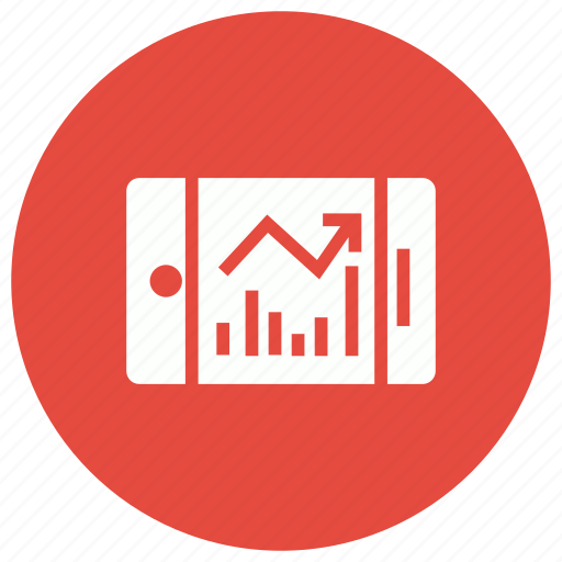 analysis, chart, graph, phone icon
