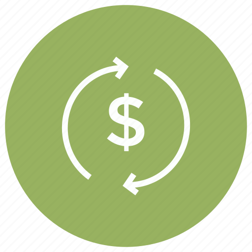 currency, dollar, finance, refresh, reload icon