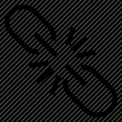 break, broken, brokenlink, link icon