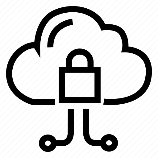 cloud, datastorage, lock, private, protected icon