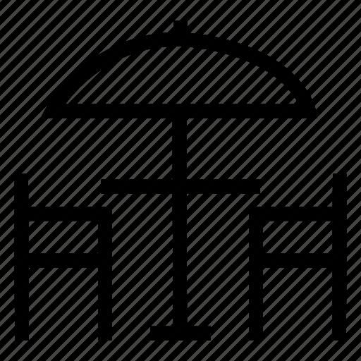 hotel, interior, service, umbrella icon