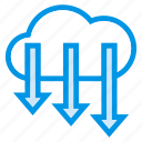 arrow, cloud, down, download, storage